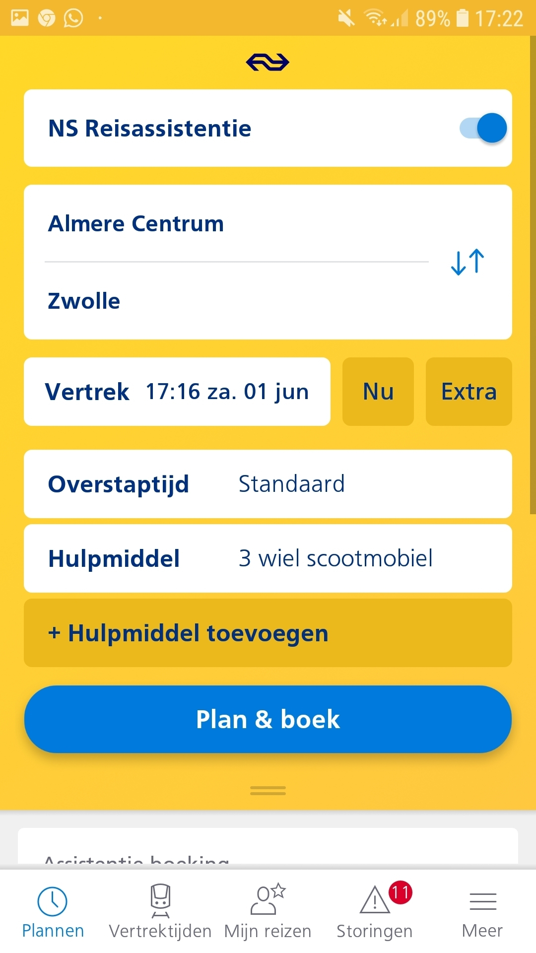 Zo vraagt u reis assistentie aan via de NS app.